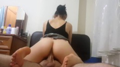 Creaming on his big dick while riding him on top