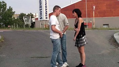 Very cute petite little girl public sex threesome orgy with 2 hung guys with big dicks in the middle of a street with or